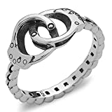 Silver Phantom Jewelry Handcuff Ring with Chain Band in 925 Sterling Silver (Size 6)