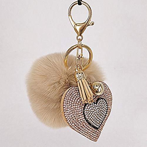 YUMEI Llavero Pompón Llavero Diamantes de imitación corazón Bolsos de Mujer Llavero Accesorios Hechos a Mano llaveros Colgantes decoración de suspensión Encantadora