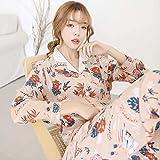 Otoño Langosta de algodón Ropa para el hogar Ropa Cuello Vuelto Cárdigan Elegante Mujer Pijamas Traje Pijama para Mujer Ropa para el hogar XL PH-09