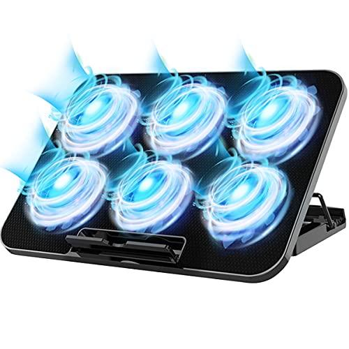 Almohadilla de enfriamiento para computadora portátil, con 6 ventiladores silenciosos, puertos USB dobles, velocidad del viento...