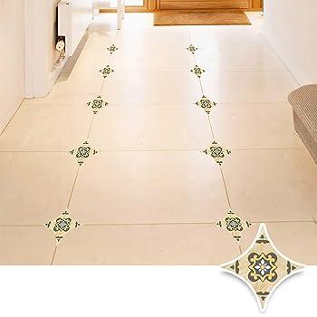 Amazon Com Jacklove 45 Pcs Diagonal Floor Stickers Moroccan Style Kitchen Decorative Sticker Self Adhesive Pvc Ceramic Tile Stickers Waterproof Wall Sticker Dj002 Home Kitchen