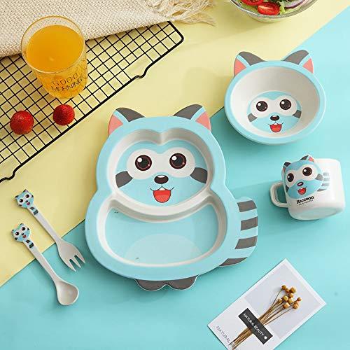 5pcs / sets Cena Fibra de bambú para el bebé Vajilla de dibujos animados lindo Para niños Tenedores y cucharas Vajilla Platos portátiles para niños Lovely Baby Bowl-blue