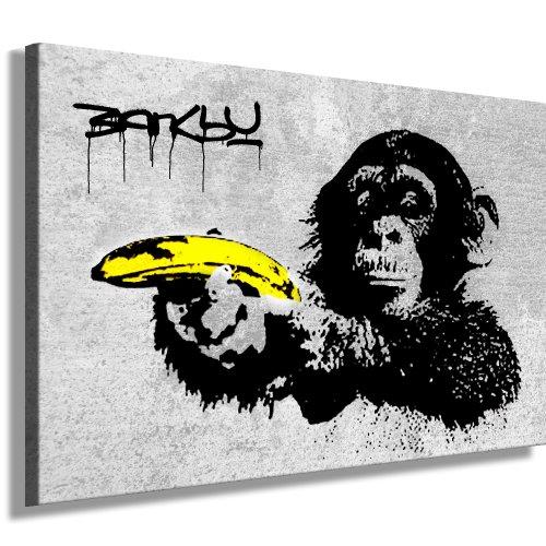 Fotoleinwand24 Quadro su tela Bansky Graffiti scimmia con banana, XXL, su cornice in legno, dimensioni a scelta, non è un poster né un cartellone, N- 561, Bild - S/W 150x100cm