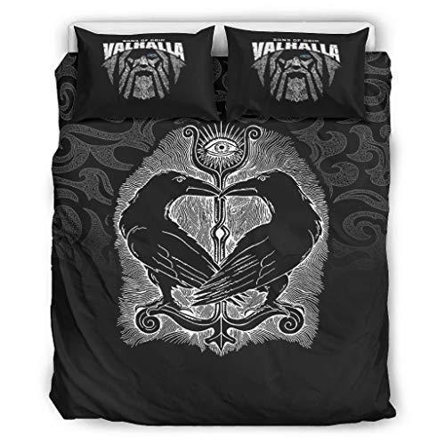 Relaxident Juego de ropa de cama Viking suave para todas las estaciones, 1 funda de edredón y 2 fundas de almohada para todas las estaciones, 228 x 228 cm, color blanco