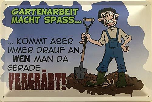 Deko7 Blechschild 30 x 20 cm Garten Spruch: Gartenarbeit Macht Spass