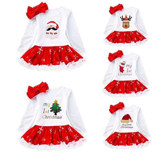 YQSR Vestido de Navidad para niños y niñas, con el primer vestido de Navidad, disfraz de Papá Noel, 2 unidades