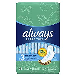 Always Size 3 Extra Long Super Absorbency with Wings Ultra Thin Pads, 28 Count