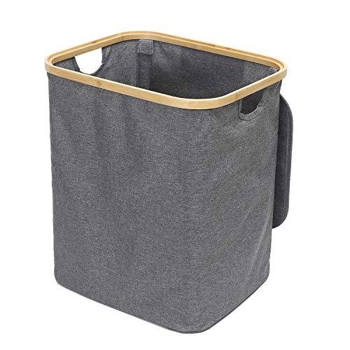 DNSAHOI - Cesto para la colada con tapa, de bambú, resistente al agua, para la colada, color gris, 33 x 45 x 40 cm