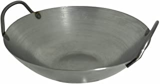 16 Inches Carbon Steel Flat Bottom Wok with Two Side Handle, 14 Gauge Thickness, USA Made