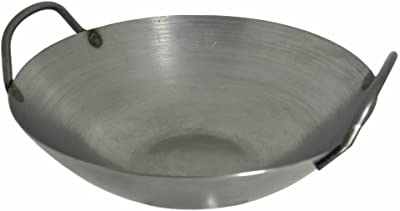 14 Inches Carbon Steel Flat Bottom Wok with Two Side Handle, 14 Gauge Thickness, USA Made