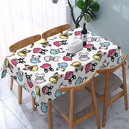 XIANGYANG French Bulldog Coffee Cup Rectangle Tablecloth 54 X 72 Waterproof Washable Reusable Table Cover Cloth for Dining Room Kitchen Picnic Home Decor