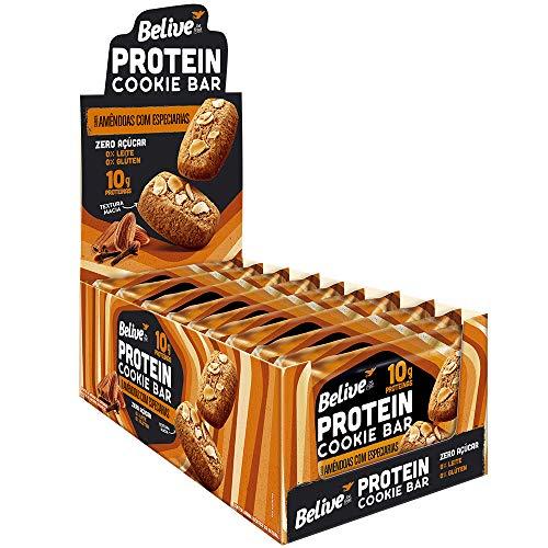 Cookie Bar Protein Amêndoas com Especiarias Sem Açúcar Sem Glúten Sem Lactose Belive 40g Display com 10 unidades