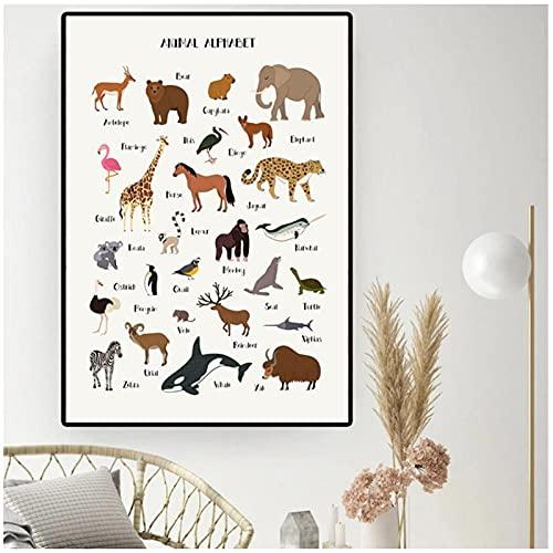 BINGJIACAI ABC animales alfabeto cartel guardería lienzo pintura educación preescolar pared arte imágenes impresión niños habitación dormitorio decoración-50x70cm sin marco