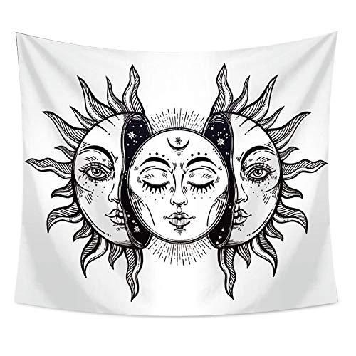 KHKJ Mandala Tapiz Indio Tai Chi Hippie Bohemio Provincia del Sol Luna Decoración Colgante de Pared Alfombra Arte de Dormitorio A3 150x130cm