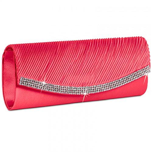 Caspar TA291 Bolso de Mano Fiesta para Mujer Clutch de Satén con Estrás, Color:coral
