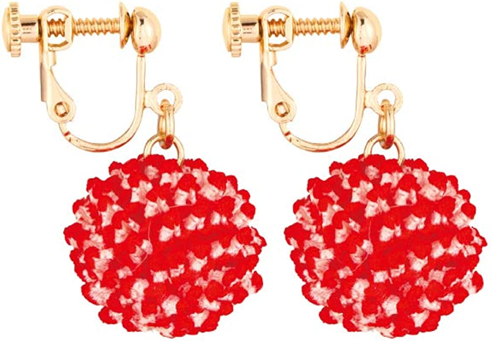 Clip-on earrings, ( Tie-dye ball ) Expressing ancient Japanese colors, using hypoallergenic metals, using kimono fabric, shaking, for women, for girls, for children