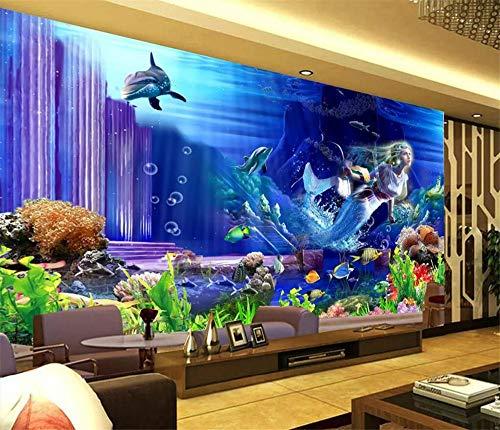 Fototapete 3D Tapete Wandbild Meerjungfrau-Unterwasserweltpalast Foto Tapete 3D Effekt Wandtapete Vliestapete Wandbilder XXL Wanddeko Tapeten