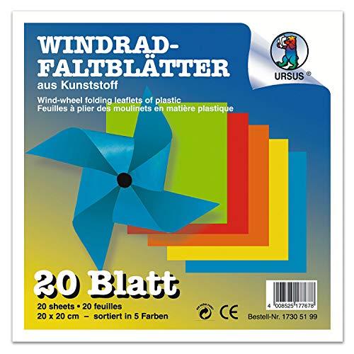 Ursus 17306899 Farbige Folie, 20 Blatt in 5 Farben, gelb, orange, rot, blau, grün, ca. 9,8 x 9,8 cm, Papierstärke 150 My, zum Basteln von bunten Windrädern