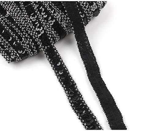 Yalulu 10 Yards Glänzendes Elastische Paillettenband Glitzer Stretch Pailletten Bänder Borten Bortenband DIY Handwerk Bastelprojekte (Schwarz - Silber)
