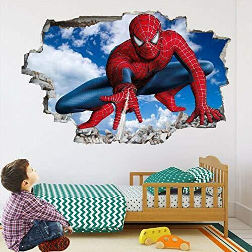 Pegatinas de pared Araña super pegatinas de arte de pared calcomanía mural decoración de dormitorio de niños Póster Arte 3D Mural 50x70cm