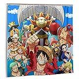 Anime One Piece Ace Straw Hut Band Duschvorhang Badezimmer Dekor Exquisite Wasserdicht Duschvorhang 183 x 183 cm mit 12 Kunststoffhaken