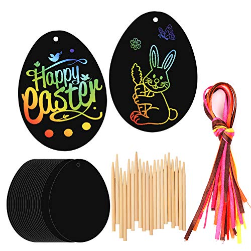 HOWAF 20 Stück Novelty Ostern Kratzbild Anhänger Osterei Scratch Art für Kinder Ostern basteln, bemalen, Ostern Geschenke für Kinder Jungen Mädchen, mit Holzstiften