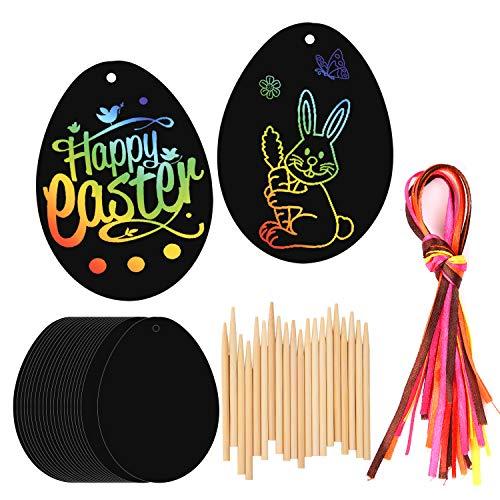 HOWAF 20 Pezzi Uova di Pasqua Scratch Art Pasqua Decorazioni Fai da Te per Bambini, con Penne di bambù e Nastro da Appendere, Regalo di Pasqua Bambini