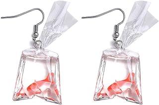 Boucles d/'oreilles pendantes originales en forme de poisson rouge dans un sac rempli deau Pu Ran pour femmes