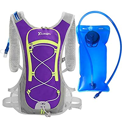 WANOSS Hydration Backpackwith 2L 70 oz Water Bladder, LightweightNylon Hydration Pack, Outdoor Sport Water Backpack for Cycling Running Bike Hiking Climbing (Purple)