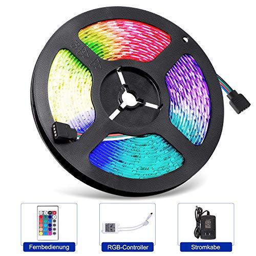 Adoric 5m Licht LED Strip,Led Streifen Lichtband 300 LEDs (SMD 3528) MEHRWEG,Farbwechsel,Netzteil & Fernbedienung Weihnachten Halloween Christmas Party Geschenk [Energieklasse A+]