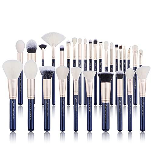 Jessup Juego de pinceles de maquillaje para maquillaje en polvo, cara y labios, 30 piezas, color azul prusiano T470