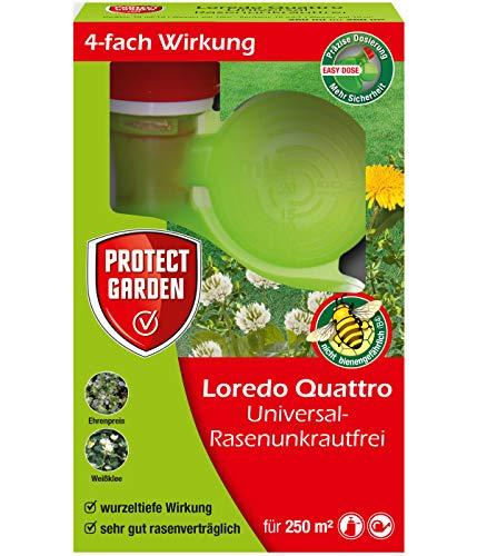 PROTECT GARDEN Universal-Rasenunkrautfrei Loredo Quattro Rasen Unkrautvernichter gegen hartnäckige Unkräuter mit 4-fach Wirkung, 250 ml