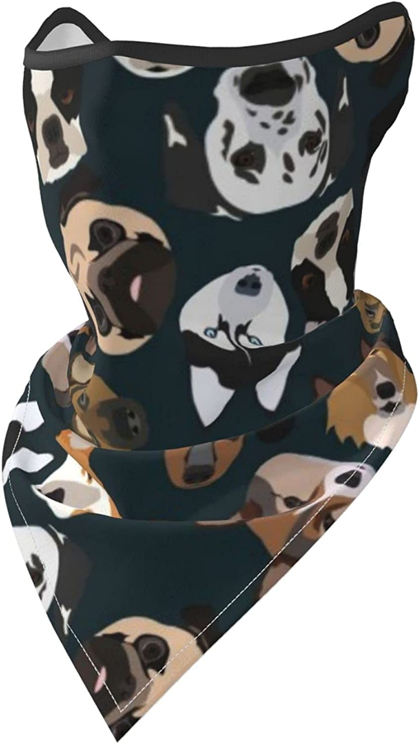 Dogs Breathable Bandana Face Mask Neck Gaiter Windproof Sports Mask Scarf Headwear for Men Women Outdoor Hiking Cycling Running Motorcycling