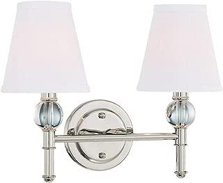 Langdon Mills 10206 Savoy 2-Light Bathroom Vanity Light, Polished Nickel