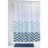 mDesign – Cortina de ducha con estampado de zigzag – Accesorio de baño con...