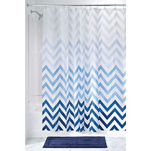 mDesign Duschvorhang mit Ombremuster - ideales Badzubehör mit perfekten Maßen: 183 cm x 183 cm - langlebige Duschgardine - Farbe: blau