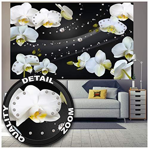 GREAT ART Mural De Pared – Orquídeas con Diamantes Y Fondo Negro – Obra De Arte Diseño Gráfico Patrón Floral Abstracto Foto Papel Pintado Y Tapiz Y Decoración 210 x 140 cm