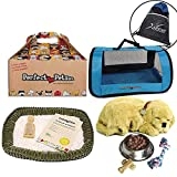 Perfect Petzzz Golden Retriever Plush with Blue Tote For Plush Breathing Pet, Dog Food, Treats, Chew Toy and Drawstring Bag