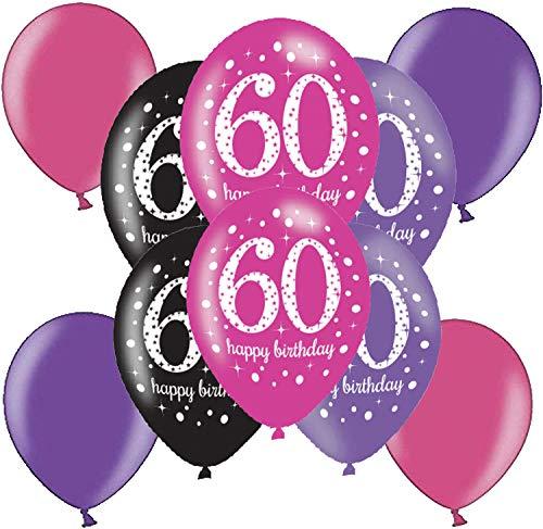 10 Starke farbige Luftballons Nummer 60 Deko zum 60 Geburtstag Party Dekoration Metallic Luftballon Lila Pink (60. Geburtstag)
