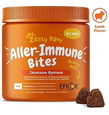 Zesty Paws Allergy Immune Supplement for Dogs Lamb- with Omega 3 Wild Alaskan Salmon Fish Oil & EpiCor + Digestive Prebiotics & Probiotics - Anti Itch & Skin Hot Spots + Seasonal Allergies - 90 Chews