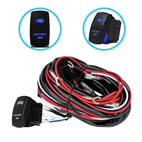 Liteway One-To-Two Universal LED Light Bar Wiring Harness Kits 24V/40A Relay ON-OFF Blue Laser Rocker Switch Weatherproof(2 Lead 12ft)