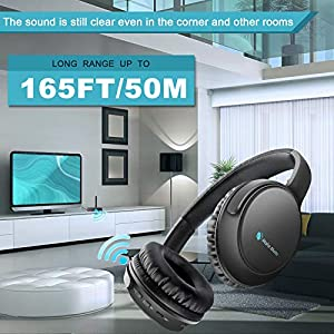 Wireless Headphones for TV Watching with Optical Bluetooth Transmitter, makemate BKM200 Digital TV Headsets, Easy Plug & Charge, up to 165ft Wireless Range, Crystal Stereo for Most TVs - Black