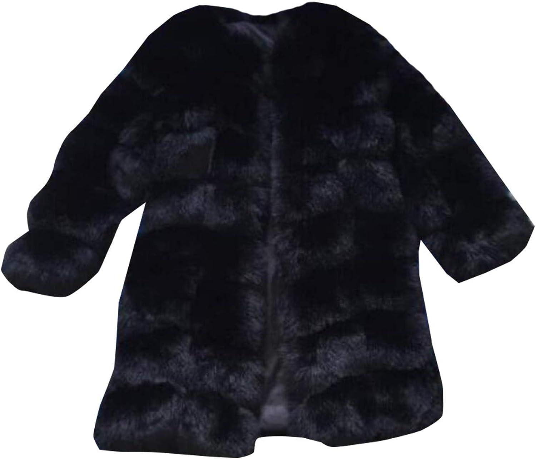 Jxfd Women Faux Fur Coat Plus Size Warm Thick Outerwear Overcoat Trench Jacket