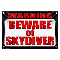 """警告スカイダイバーの用心 33"""""""" (84cm) x 22"""""""" (56cm) ミニビニール旗バナー壁符号"""