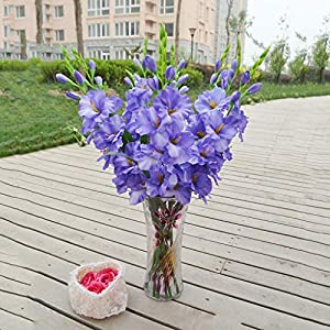 Floral DecorArtificial Gladiolus Flowers and Plants for Wedding Party Decoration Blue