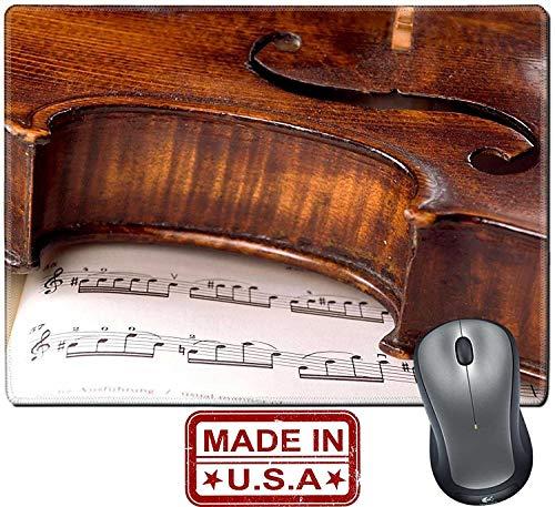 Not Applicable Alfombrilla/Alfombrilla de Goma Natural con Bordes cosidos Un violín Viejo y Polvoriento descansa de Lado sobre una partitura Musical Solo una línea
