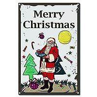 CREATCABINメリークリスマスメタルヴィンテージティンサイン壁の装飾装飾用ホームサンタクロースウォールアートキッチンバーパブルームガレージヴィンテージレトロポスタープラーク12 x 8インチ