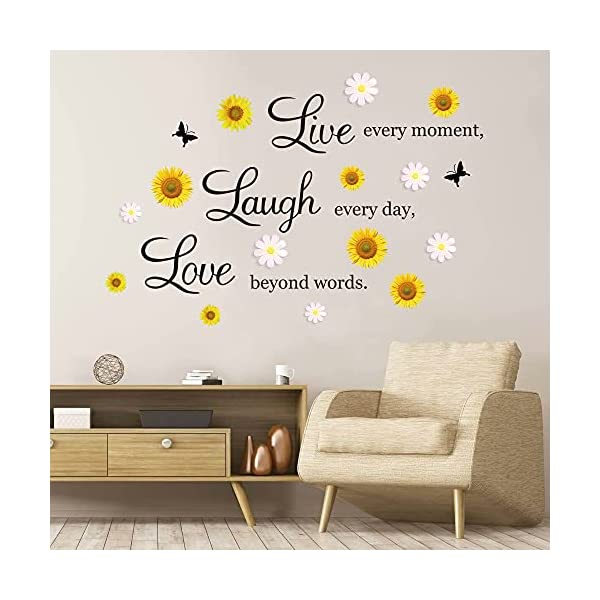 4 sheets inspirational quotes wall decals vinyl sunflower daisy wall stickers removable motivational lettering positive sayings stickers live laugh love wall decor phases for kitchen bedroom living ro