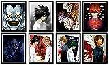 Death Note Art Prints Justics Light L Ryuk Anime Fan Art Design Canvas Artwork Poster, 8 x 10 pulgadas, sin marco, 8 unidades