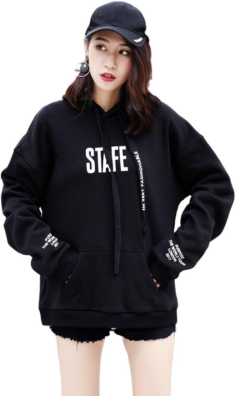 Lady Herbst und Winter bequemer schwarzer Mantel Freizeit Sweatshirt Comfort Pocket Hoodie (Farbe   Schwarz, gre   M)